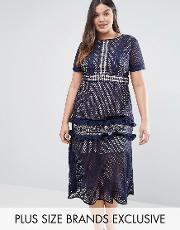 Truly You , Tiered Premium Lace Midi Dress Navy