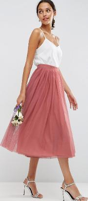 Asos , Tulle Prom Skirt With Multi Layers Dark Pink