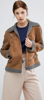 Urbancode , Contrast Faux Shearling Jacket Brown