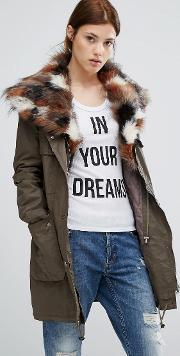Urbancode , Parka With Patchwork Faux Fur Hood Green