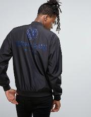 Versace , Jeans Bomber Jacket In Black With Back Print