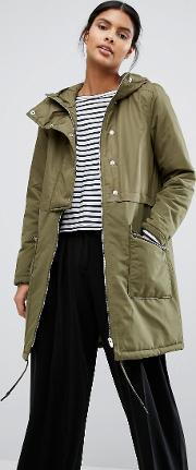 Vila , Padded Button Front Coat Ivy Green