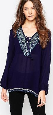 Vintage Havana , Embroidered Top Navy