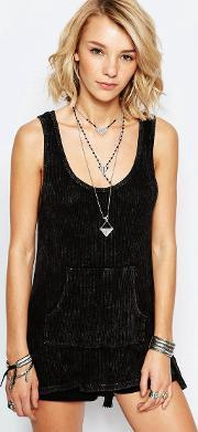 Vintage Havana , Tank Top With Lace Panel Back Black