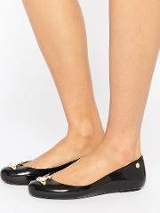 Vivienne Westwood For Melissa , Black Orb Gloss Space Love Flat Shoes