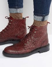 Walk London , Liverpool Leather Lace Up Boots Red