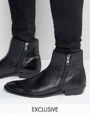 Walk London , Picadilly Double Zip Leather Boots Black