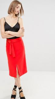 Warehouse , Belted Skirt Red