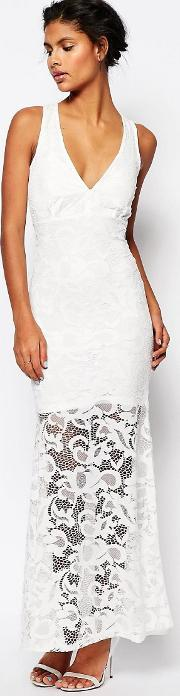 Wyldr , Dramatic Lace Maxi Dress White