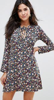 Wyldr , Love Ready Floral Printed Tea Dress With Keyhole Front Multi