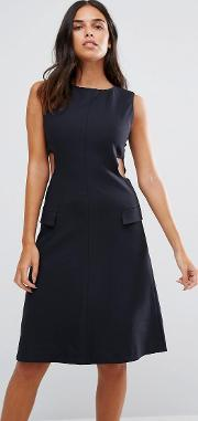 Ymc , Cut Away Sides Fitted Dress Navy