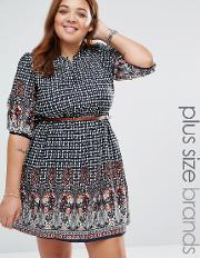 Yumi Plus , Belted Dress In Border Print Navy