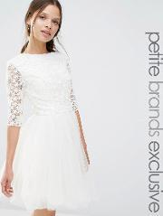 Chi Chi Petite , Chi  London Petite  Sleeve Lace Top Skater Dress With Chiffon Skirt Cream
