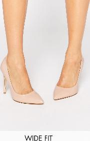 Faith Wide Fit , Chloe Nude Court Shoes