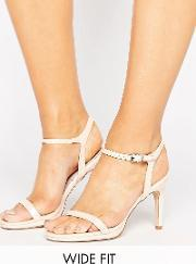 Faith Wide Fit , Dolly Heeled Sandals Nude