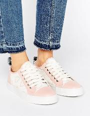Love Moschino , Heart Print Trainers Nude And White