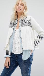 Maison Scotch , Embroidered Jacket Off White