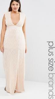Missguided Plus , Pleated Front Maxi Dress Nude