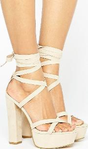 Truffle Collection , Tie Ankle Platform Heeled Sandals Blush Micro