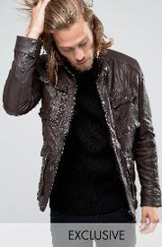 Black Phoenix , Leather Jacket 4 Pockets Distressed In Brown