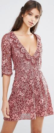 For Love And Lemons , Theodora Lace Mini Dress With Frill Pink