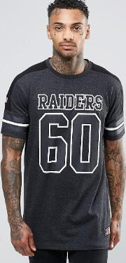 Majestic , Raiders Longline T Shirt White
