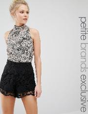 Maya Petite , Sleevless Body With Heavy Embellishment And High Neck