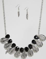 Ruby Rocks , Feather Detail Necklace And Earring Set