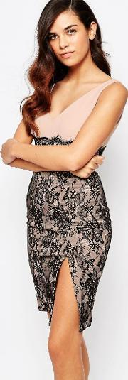 Amy Childs , Annabelle Pencil Dress With Lace Skirt