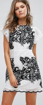 Foxiedox , Embroidered Mini Dress With Ruffle Sleeves