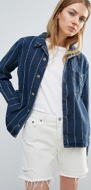 Bethnals , New Tommy Worker Stripe Jacket Indogo