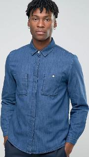 Bethnals , Steve Chest Pocket Shirt In Indigo Navy