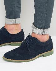 Front , Brogues In Suede Navy