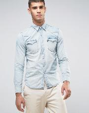 Levis , Barstow Western Shirt Gritty Patch Light Wash