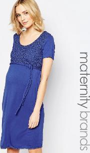 Mamalicious , Lassy Dress With Embroidered Top Deep Ultramarine