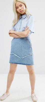 Mih Jeans , M.i.h Jeans Denim Mini Skirt With Fray Detail Jansson Jas