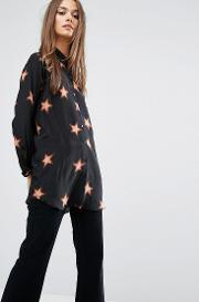Mih Jeans , M.i.h Jeans Oversized Silk Shirt With 70s Star Print Black Multi