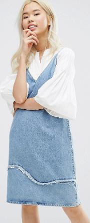Mih Jeans , M.i.h Jeans Strappy Denim Dress With Fray Detail Jansson Jas