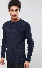 Selected Homme , Knitted Waffle Jumper In 100 Cotton Dark Sapphire