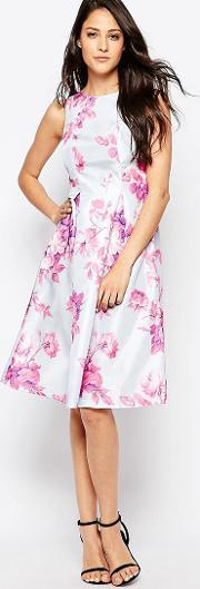 True Violet , Floral Dress With Exaggerated Pep Hem