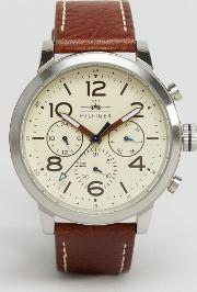 Tommy Hilfiger , Jake Chronograph Leather Watch In Brown 1791230