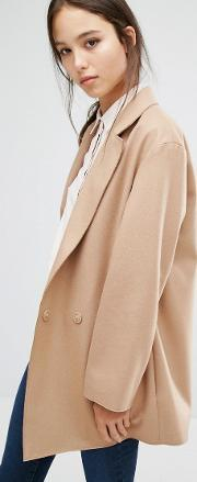 French Connection , Platform Felt Coat Tan