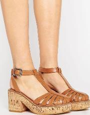 Asos , Oasis Cork Platform Shoes Tan Pu