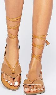 Truffle Collection , Beryl Ankle Tie Toepost Flat Sandals Tan Pu