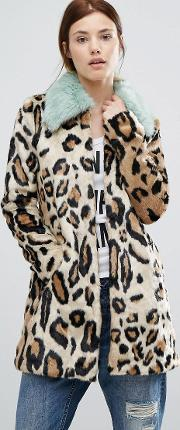 Urbancode , Faux Fur Leopard Print Coat With   Collar