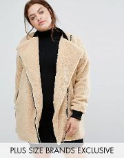 One Day Plus , Allover Faux Shearling Longline Biker Jacket Camel