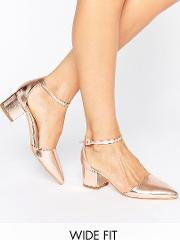 Truffle Collection , Truffle Wide Fit Heel Shoe Rose Gold Pu