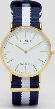 Reclaimed Vintage , Navy Stripe Canvas Watch With White Dial Navywhite