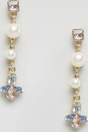 Johnny Loves Rosie , Pearl And Stone Drop Earrings Cream