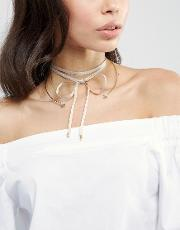 Johnny Loves Rosie , Aria Mink And Gold Choker Necklace